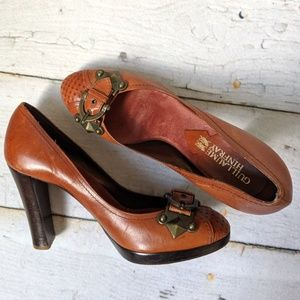 GUILLAUME HINFRAY Buckle Clasp Leather Heels 37